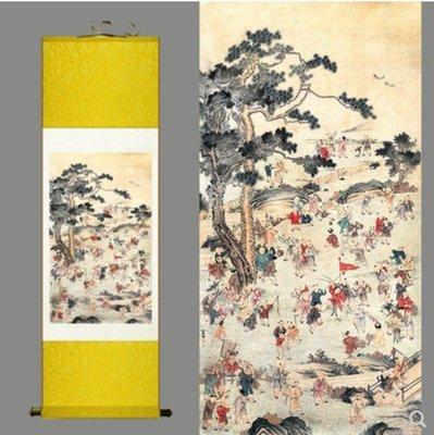 【幸運星】現貨+追加 多子多孫 百子圖 求子 風水畫 30*100cm 絲綢畫 裝飾畫出國禮送客戶老外
