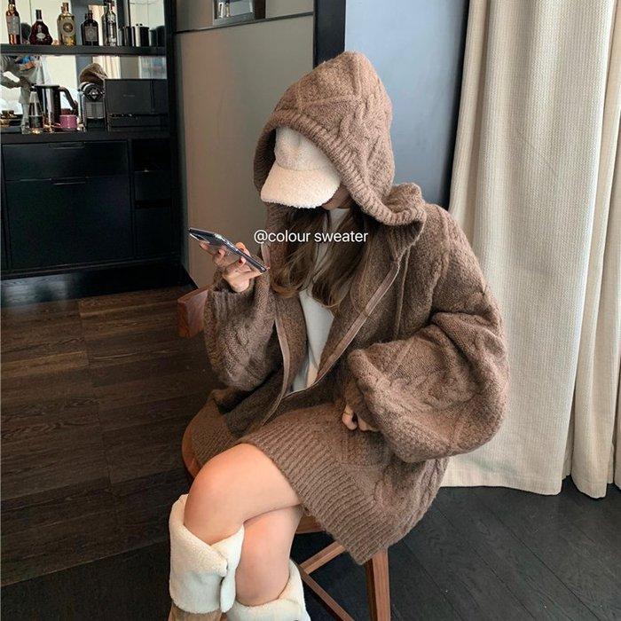 ❤Princess x Shop❤麻花毛衣外套針織開衫百搭連帽慵懶風寬鬆長袖上衣TN6-85-1