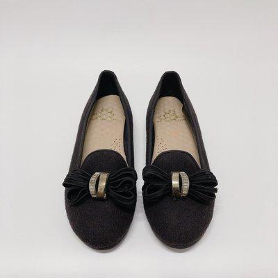 《福利品競標區》【L012 黑色 24號】 皮革蝴蝶結絨毛布料 舒適鞋墊娃娃鞋