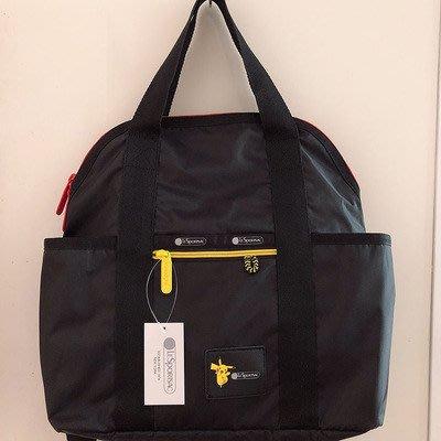 凱莉代購  LeSportsac 2442 拼色皮卡丘 手提/雙肩後背包 輕量 多夾層 大容量 背面可插行李箱  預購