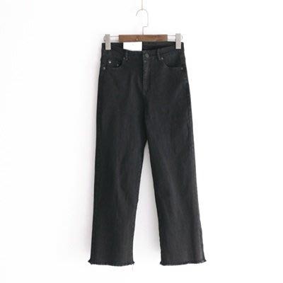 牛仔 褲 直筒 長褲-微復古自然率性毛邊女褲子2色73tq13[獨家進口][米蘭精品]