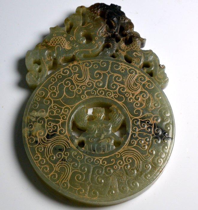 [天地居] 漢 帶沁和闐鏤空出廓龍紋玉璧 質變 雙面雕工 0619