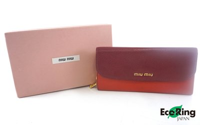 [Eco Ring HK]*Miu Miu Long Wallet /Flap/Leather/Wine Red*Rank BC-197025213-