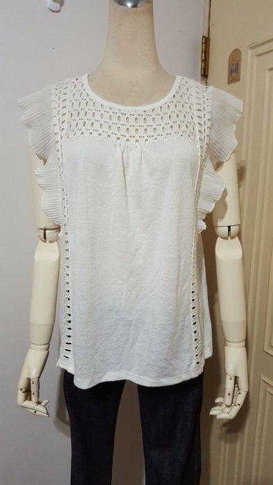 日本uniqlo之GU品牌米白色拼縷空細百褶雪紡袖棉衫M號(適M~L)*250元直購價*