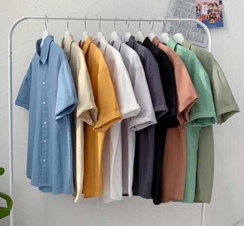 FINDSENSE X  男士 薄款 短袖 襯衫 夏季男純色上衣情侶襯衣 襯衫