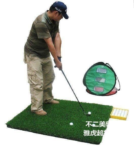 【格倫雅】^送黃球盒+球+tee】高爾夫雙面揮桿打擊墊1*1.2米 B.C揮桿練習球墊