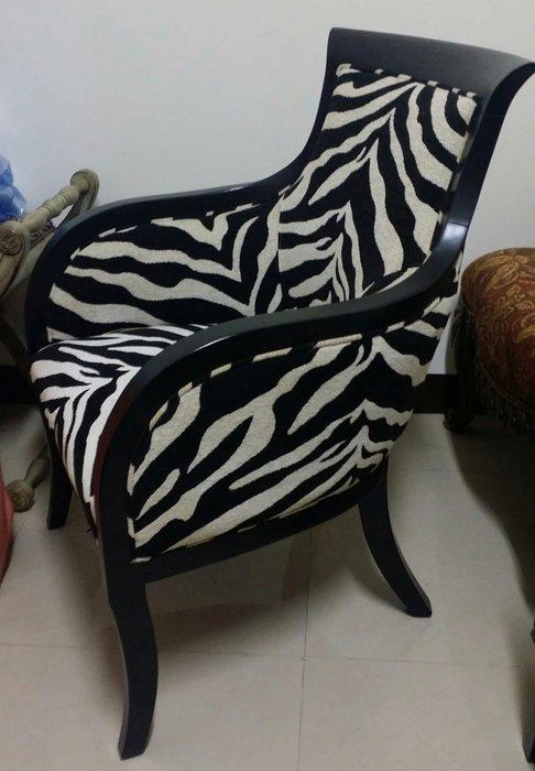 美生活館----新古典斑馬紋 扶手主人椅/房間椅/餐椅 玄關椅 新娘休息椅 書桌椅 店面 婚紗 餐廳