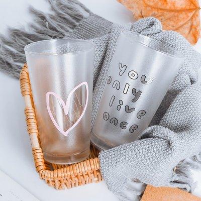 日式小清新玻璃杯果汁杯早餐杯透明牛奶杯咖啡杯簡約居家喝水杯子馬克杯 冰淇淋杯