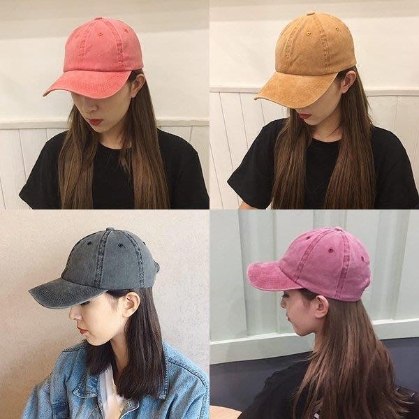 【TT】帽子 韓版做舊複古彎檐鴨舌帽子光板純色棒球帽情侶水洗帽男