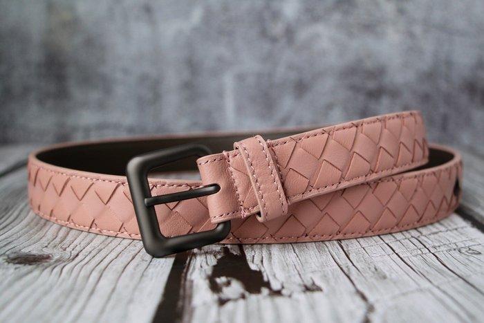 《編織之王》低調奢華純手工編織小羊皮窄版2.5cm腰帶皮帶