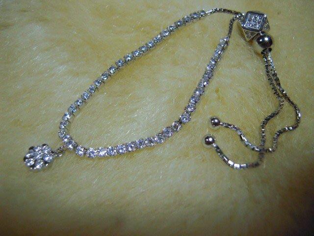 ※水晶玫瑰※ 925純銀水晶鑽造型手鏈(RD126)