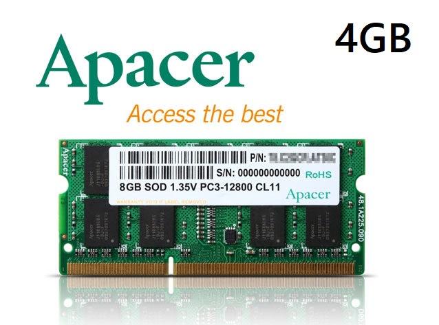 《SUNLINK》Apacer 宇瞻 4G 4GB DDR3L-1600 1.35V 筆記型記憶體