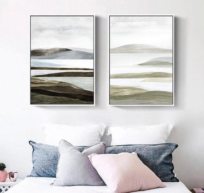 ABOUT。R 空山新中式抽象裝飾畫走廊客廳抽象三聯畫沙發背景牆禪意山水風景書房掛畫冷色調抽象風景橫幅掛畫(5款可選