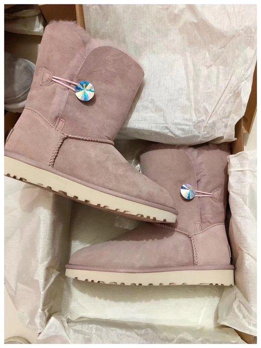 UGG 雪靴 全新正品 Bailey Button Bling 施華洛世奇水晶炫彩鑽UGG 經典半筒 高筒 高幫 平底鞋
