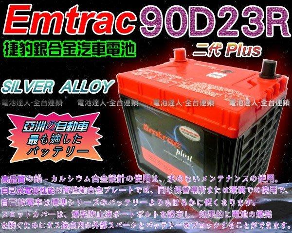 【電池達人】Emtrac 捷豹 銀合金 汽車電池 GRUNDER GALANT LEGACY 速霸陸 三菱 90D23R