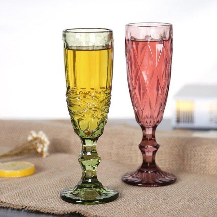 禧禧雜貨店-復古彩色浮雕香檳杯創意小號果汁杯玻璃高腳杯家用加厚紅酒杯酒具#新款