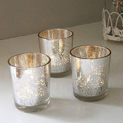 熱銷#簡約電鍍銀玻璃小燭臺彩色蠟燭杯浪漫圣誕燭光晚餐酒吧西餐廳擺件#燭臺#裝飾