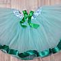 企鵝與小花~女童外搭蓬蓬裙/紗裙/芭蕾舞裙-綠色緞帶