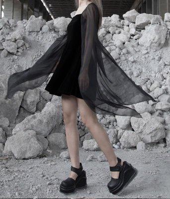 【黑店】原創設計 訂製款飄飄雪紡袖子絲絨洋裝 暗黑系洋裝 個性穿搭個性洋裝 宴會洋裝 超仙薄紗洋裝BL111