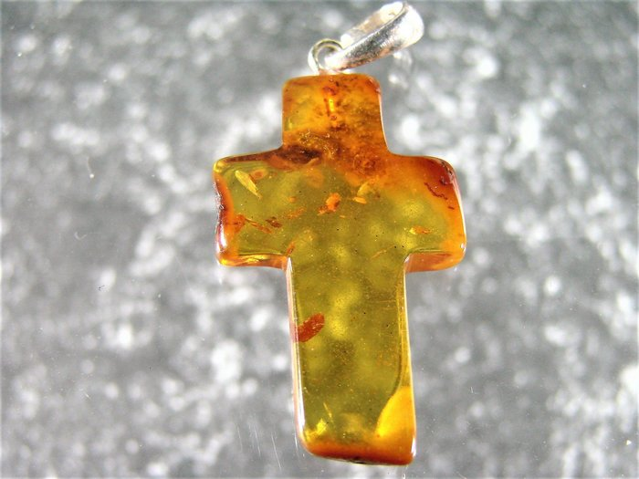 *·.精品釋出.·*保真 波羅的海 珠寶等級【 純天然金珀 十字架吊墜】D67f玩古金銀