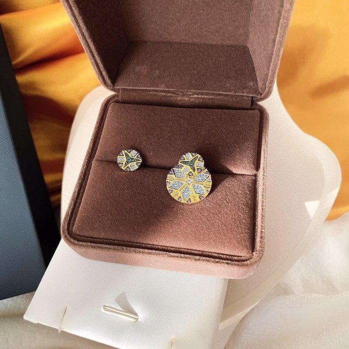 APM monoco專櫃正品925純銀防過敏鍍金鑲鑽不對稱耳環耳飾飾品