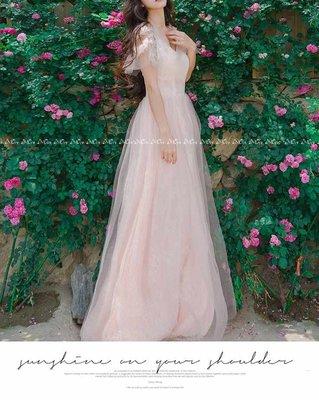 §§§ aMOre §§§ 浪漫網紗小飛袖 宮廷復古蕾絲刺繡緹花 唯美空氣感飄逸連身長洋裝~超值  追加