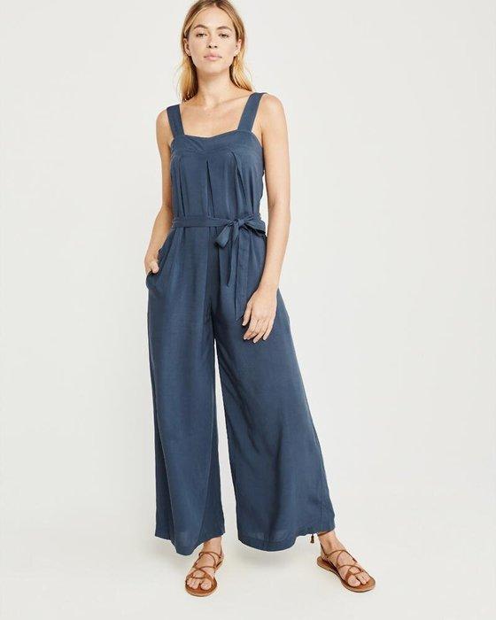 【iBuy瘋美國】全新正品 Abercrombie & Fitch 當季新品 腰間綁帶顯瘦款 俐落連身長褲 現貨XS