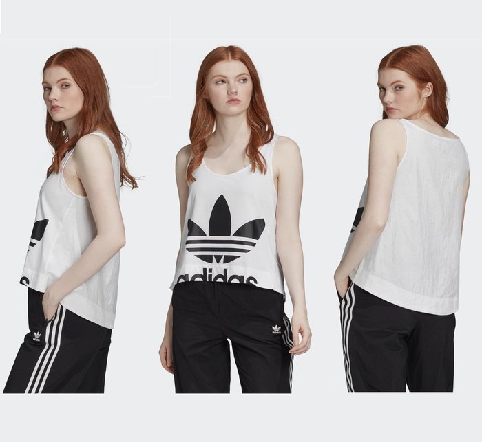 AsukA的衣物間~可愛教主楊丞琳也穿愛迪達adidas BELLISTA 白色logo圖案輕薄運動背心FM7121