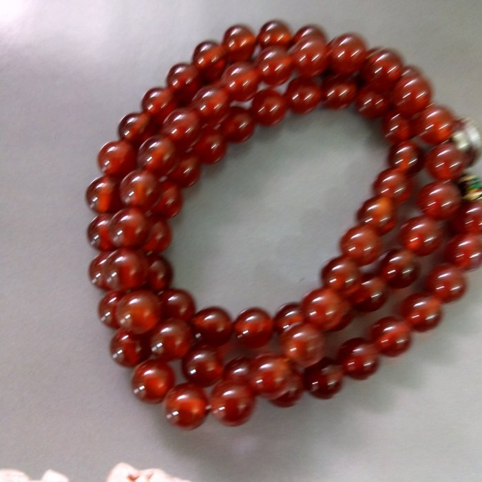 【開運如意閣】紅玉髓項鍊-手鍊-圓珠6.5約73mm顆-全長49公分-項鍊長約24公分~紅運相隨