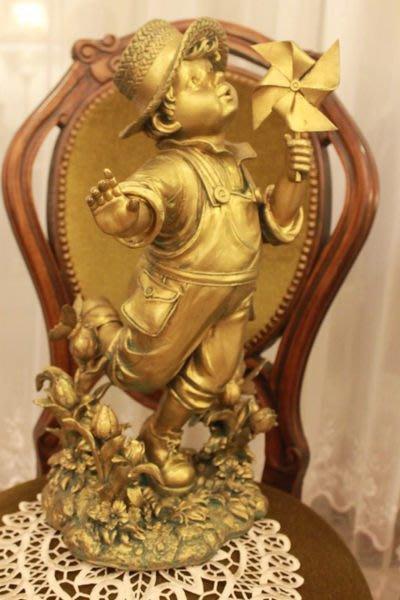 【家與收藏】 特價稀有珍藏歐洲古典法國精緻小孩童雕像擺飾(5)