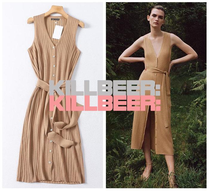 KillBeer:身為名媛的自傲之 歐美復古法式氣質女伶優雅裸色排扣綁帶收腰針織連身裙長洋裝A080219