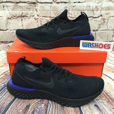 Washoes 大尺寸 Nike Epic React Flyknit 黑 全黑 藍 AQ0067-004 襪套 慢跑鞋