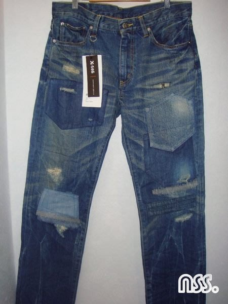 特價【NSS】2011 11 SOPH  SOPHNET  X-146 HARD DAMAGED DENIM PANT 中板 破壞補丁 貼布 牛仔褲 M 小栗旬