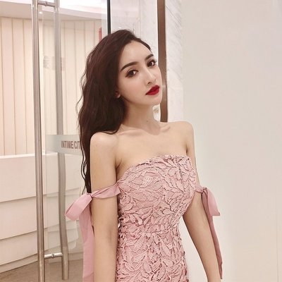❤Shinena 千奈公主❤ 正韓 小香風氣質名媛 精緻鏤空蕾絲洋裝 一字領婚禮洋裝 小禮服 E168