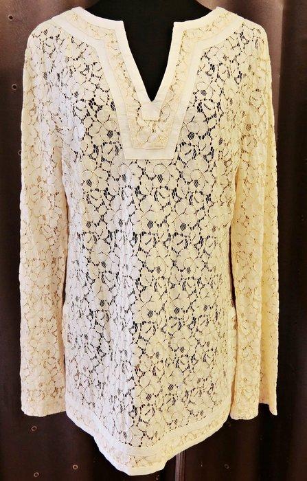近全新美國名牌 Michael Kors MK 米白色雕花鏤空設計款民族風上衣,細緻品味超凡!低價起標無底價!免運費!