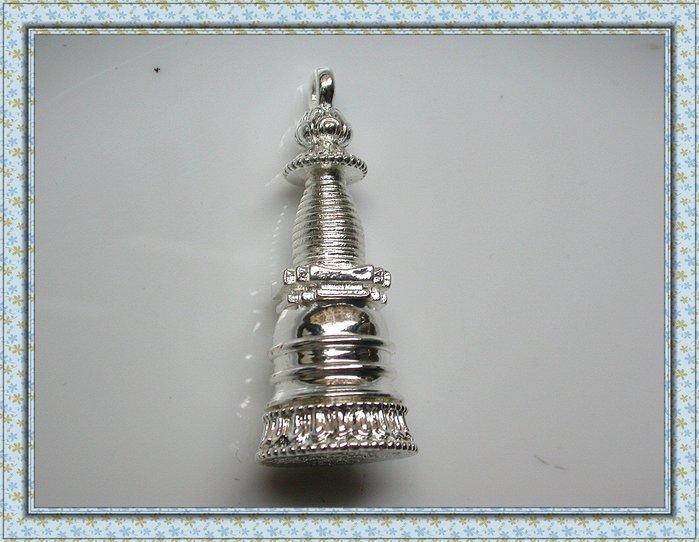 【雅之賞|藏傳|佛教文物】*特賣*精緻純銅鍍銀 手工打造噶當塔嘎嗚吊墜~Q1463