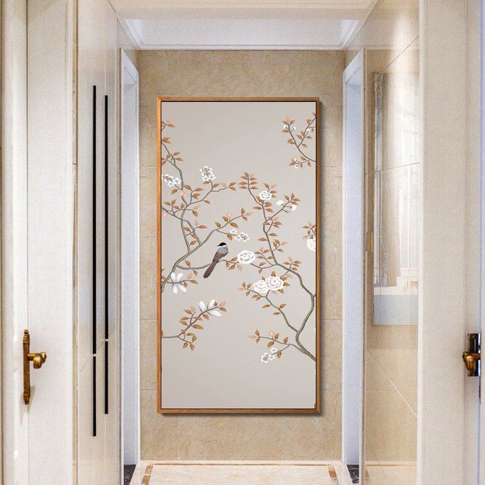 新中式花鳥現代客廳裝飾畫中式壁畫餐廳玄關油畫布花鳥掛畫(3款可選)
