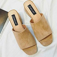 【XDOORDOOR 】新款韓流來襲露趾方頭小坡跟絨面涼鞋拖鞋低跟鞋2色35-39碼0316306MNX403S