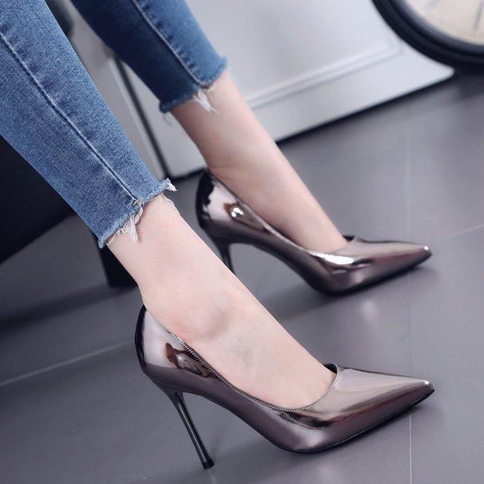 高跟鞋 性感尖頭 細跟高跟鞋  淺口漆皮OL工作鞋—莎芭