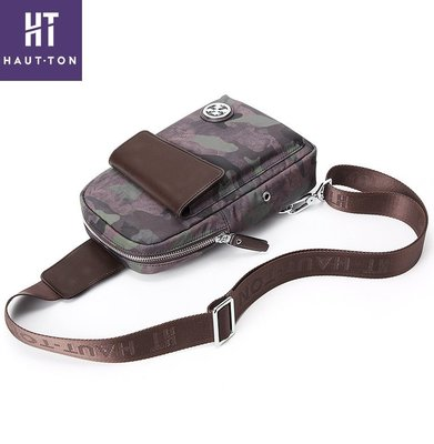 Haut Ton/皓頓胸包男帆布斜跨單肩包迷彩時尚韓版男士胸包