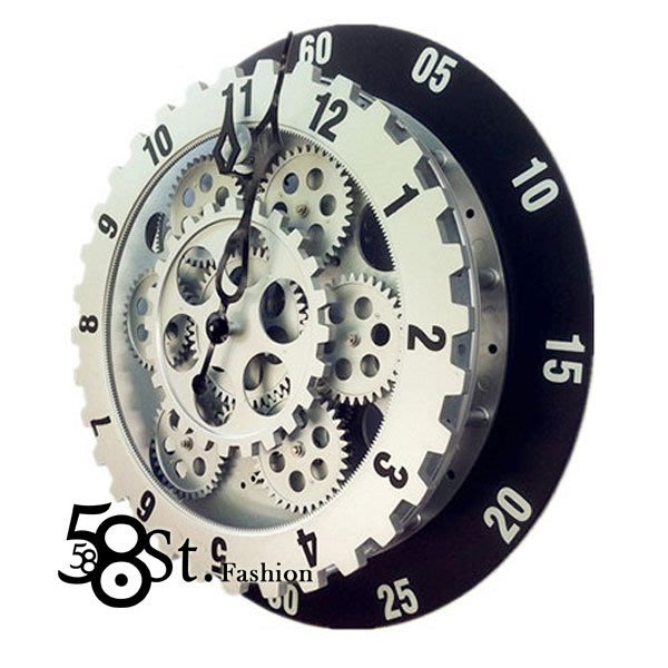 【58街】設計師款式經典鐘「特殊造型新款齒輪掛鍾,靜音」。AB-122