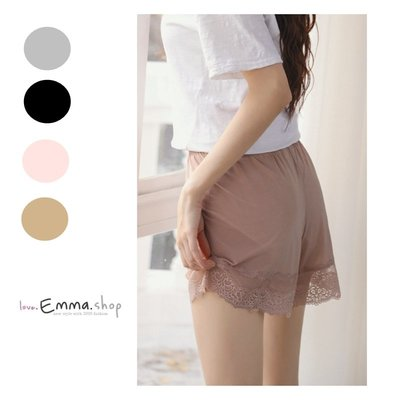 EmmaShop艾購物-日韓美人純色蕾絲透膚居家褲/安全褲/內搭褲