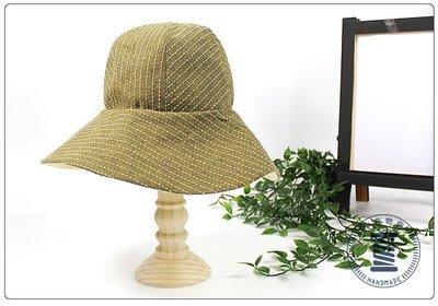 ✿小布物曲✿虛線紋漁夫帽  精巧手工車縫製作 手作  進口布料質感超優 綠色