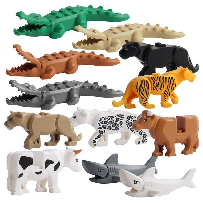 積木動物拼裝益智玩具積木鱷魚老虎鯊魚擺件模型12款  #小兄弟&雜貨鋪# gujh 7845