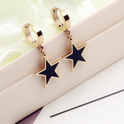 韓國氣質簡約百搭五角星星耳扣復古長款時尚女耳圈耳墜夸張耳飾品