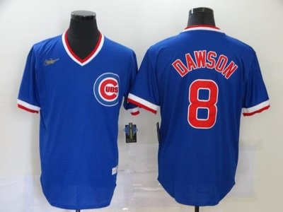 MLB棒球服Cubs小熊隊球衣9#BAE 8#DAWSON復古套頭短袖T恤刺繡球衣 Exposs