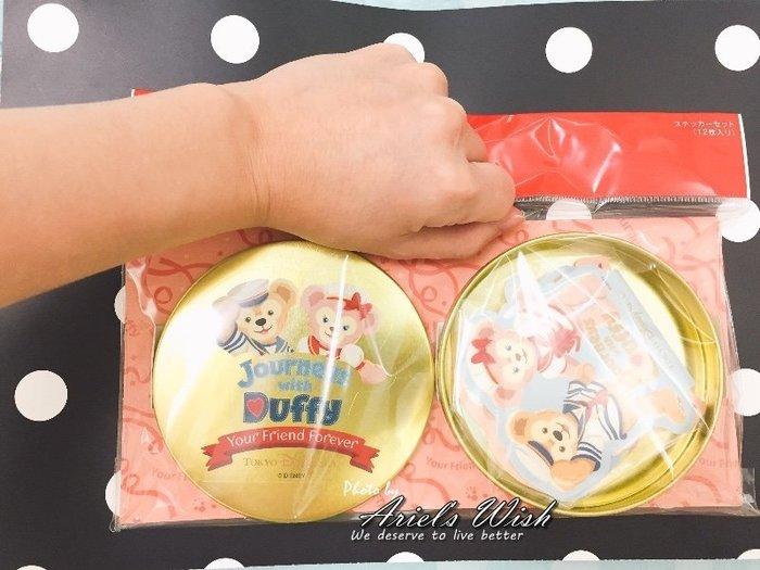 Ariel's Wish-日本東京迪士尼Duffy達菲熊雪莉玫10週年紀念金色圓鐵盒旅行印章行李箱貼紙組-日本製-絕版品