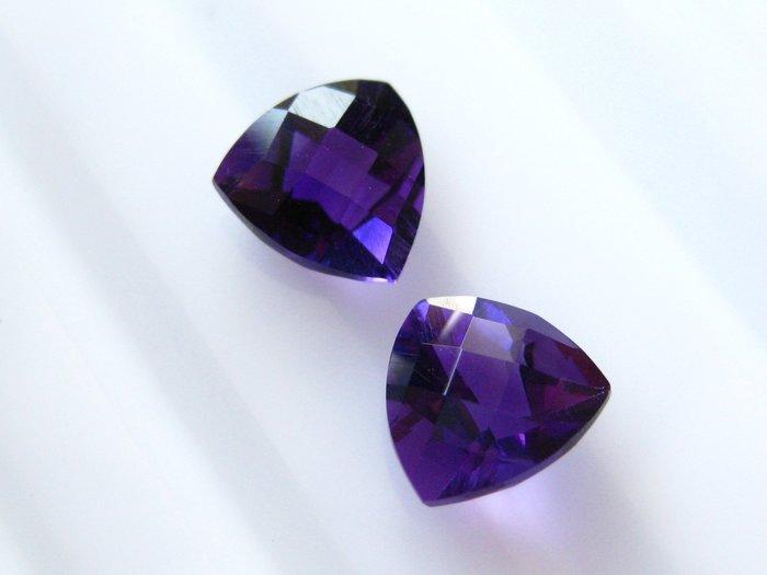 【Texture & Nobleness 低調與奢華】天然無處理 增長智慧 晶體濃郁 紫水晶 成對共2.4克拉
