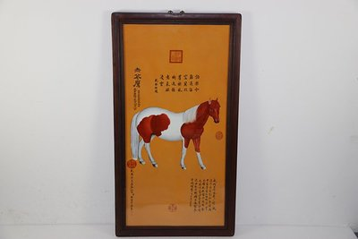 ㊣三顧茅廬㊣  乾隆御題詩郎世寧《十駿圖之赤花鷹》瓷板畫挂件  古玩瓷器舊貨壁畫
