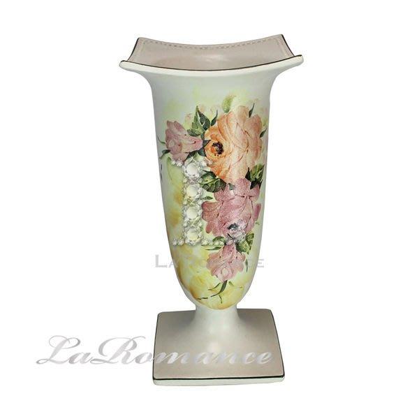 【芮洛蔓 La Romance】義大利 Ceramiche Fabbro 手繪粉玫瑰造型花器 / 手繪花器 / 手繪盆栽